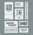 tickets with barcode qr code set documents vector image