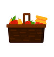 wicker basket with fruits apple and pear and jam vector image vector image