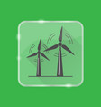 Wind turbine silhouette icon in flat style on