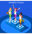 Winner Podium 2016 Summer Games Flat 3D vector image vector image