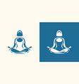 yoga logo girl sitting in lotus position vector image