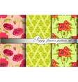 Poppy flowers pattern background set vector image
