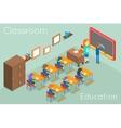 School classroom education isometric concept vector image