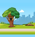 a tree house in the park vector image vector image