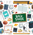 back to school endless pattern education supplies vector image