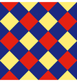 Blue Red Yellow Diamond Chessboard Background vector image
