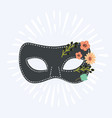 blue venetian carnival mask with flower vector image