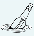 Bottle with a message in water vector image vector image