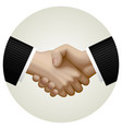 business partnership handshake in circle vector image