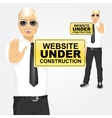 businessman holding a yellow sign vector image vector image