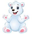 cartoon funny polar bear sitting vector image vector image