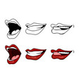 cartoon lips smile set isolated on white vector image