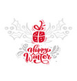christmas red happy winter calligraphy lettering vector image