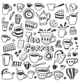 coffee and tea cups - doodles set vector image vector image