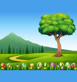 colorful easter eggs on green grass with beautiful vector image vector image