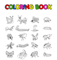 coloring book with collection of insects vector image vector image
