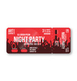 concert ticket template concert party disco or vector image