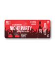concert ticket template party disco vector image vector image