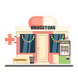 drugstore front in christmas vector image