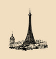 eiffel tower hand sketched for vector image