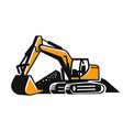 excavator construction site logo on white vector image vector image