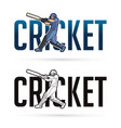 font cricket with cricketer players action cartoon vector image