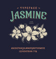 font jasmine vintage typeface design vector image vector image
