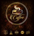golden coffee labels and coffee beans background vector image