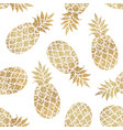 golden pineapples seamless pattern on white vector image vector image