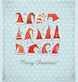 Greeting christmas card with collection of red