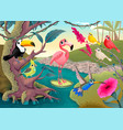 group funny tropical birds in jungle vector image