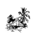 hand drawn sketch of african village house black vector image
