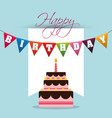 happy birthday cake colored garland card vector image vector image
