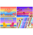 hello hot summer time promotional posters set vector image