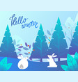 hello winter cute bunnies in pine trees forest vector image vector image