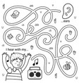 i can hear with my ears black and white maze game vector image