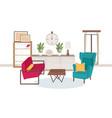 interior living room full modern furniture vector image vector image