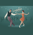 lindy hop party young hipster couple dancing vector image
