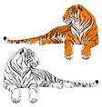 lying tiger characters set vector image vector image