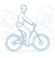 Man riding bicycle in the park vector image