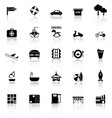 Map place icons with reflect on white background vector image vector image