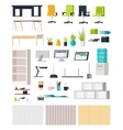 Office Interior Elements Collection vector image vector image