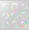 realistic soap bubble set with rainbow reflection vector image vector image