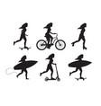 set bundle different women silhouette vector image vector image