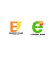 set letter e bolt logo symbol icon designs vector image