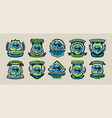 set of colorful logos emblems labels the world vector image vector image