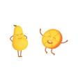 set of cute cartoon fruit vector image