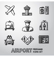 Set of handdrawn AIRPORT icons - airplane airport vector image vector image