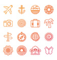 set of linear icons related to summer vector image