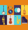 set of musical instruments jazz blues and vector image vector image